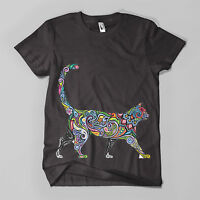 Floral Cat #1 Printed T-Shirt Hipster Design Meow Feline Mens Girls Tee Top New
