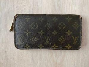 Louis Vuitton Monogram Vintage Leather Brown Long Zip Zippy Wallet Purse