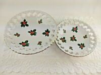 Vintage Lefton White Holly Berry Christmas Candy or Tidbit Dish Bowl Set of 2