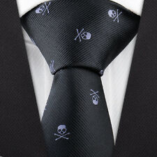 Men's Fashion Skull Pattern Necktie Wedding Party Neck tie Narrow Slim Skinny
