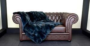 Luxury Green Rex Rabbit Fur Throw Blanket