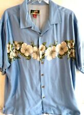La Cabana-Mens Button Down Hawaiian Shirt, 2XL-XXL, 100% Rayon, Blue Floral