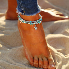 Cute Bohemian Ankle Bracelet Tone Women Beaded Adjustable Blue Beach Anklet