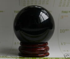SELL NATURAL OBSIDIAN POLISHED BLACK CRYSTAL SPHERE BALL 40MM +STAND