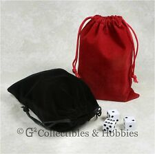 """NEW 5"""" x 7"""" Black & Red Velveteen Cloth Dice Bag 2pc Set RPG Game Counter Pouch"""