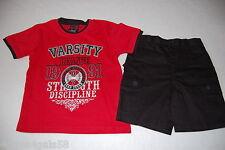 Boys Short Set SHORT SLEEVE RED SHIRT Black Cargo Shorts VARSITY ATHLETIC 7