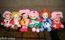 Vintage  ~ Strawberry Shortcake ~ 6 Crochet Dolls ~ Hong Kong marked Heads