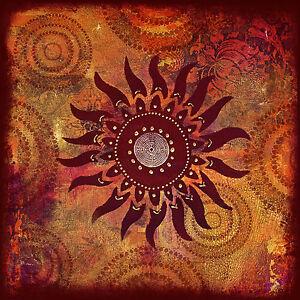 "MAYAN RED  SUN CANVAS PRINT ART texture PAINTING  24""x24"" vintage"