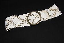Trendy Women Cream&Gold Wide Weaved Waist Belt w Large Round Metal Buckle (S153)