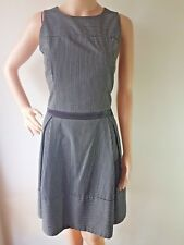 CUE Ladies Black Grey Stripe Sleeveless Lined Knee Length Dress Size: 12 EC