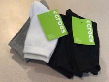 Crocs Boys Black Crew socks (uniform or dress) size 3-8 or 9-3  (pack of 3) NWT