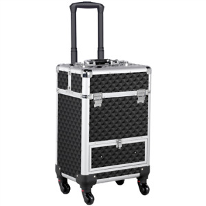Professional Makeup Artist Travel Rolling Organizer Case W/ Drawer Large Trolley
