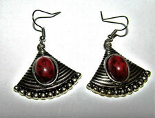 Handmade Oval Stone Costume Earrings