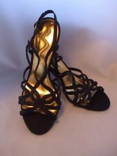 Nina Black Leather and Sequin Strappy Sandals Black Satin Heels size 10m