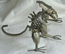 "ALIEN Creature Insect Art Sculpture Welded Metal 8"" Figure w/ Spark Plug Spring"