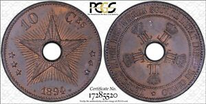 CONGO Free State 1894 10 Centime PCGS MS63BN