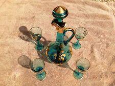 Vintage Aqua Blue Gold Flower Stem Glass Decanter Apertif Liquor Set Italy