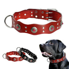 Genuine Leather Studded Dog Collar Adjustable Medium Large Rottweiler Dobermann