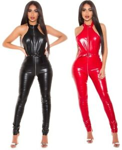 Rückenfreier Damen-Overall Lederoptik, Jumpsuit Catsuit Wetlook Party Clubwear