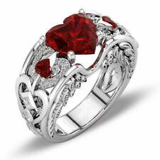 925 Silver Jewelry Oval Cut Red Garnet Women Wedding Ring Size 5-11