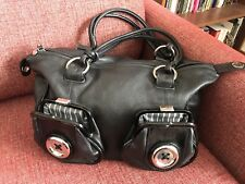 Black Mimco and Silver Leather Classic Button Handbag with Dust Bag.