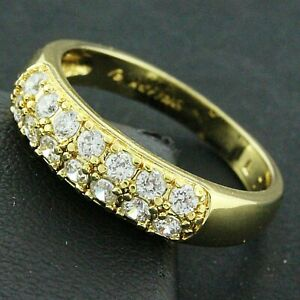 Ring Real 18k Yellow Gold Filled Genuine Diamond Simulated Lady Eternity Band 6