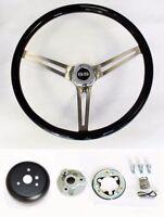 "Chevelle Impala Nova Black Wood Steering Wheel High Gloss Finish 15"" SS Cap"