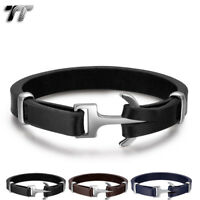 Quality TT Deep Brown Leather Anchors Bracelet Wristband S.Steel Buckle BR249H