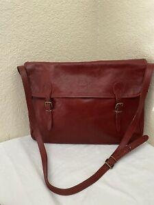 Il Bisonte By Wanna Di Filippo Red Cowhide Vacchetta Leather Messenger Bag