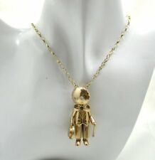 Fabulous  9 Carat Gold White Stone And Sapphire Articulated  Doll Pendant