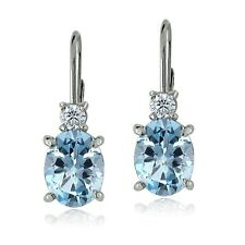 925 Sterling Silver White Topaz and Blue Topaz Leverback Earring
