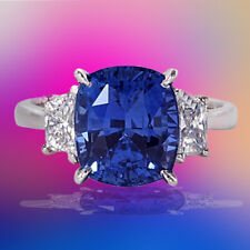 Cut Blue Sapphire Diamond Gold Ring Delicate Gia Certified 8.04 Carat Cushion