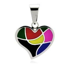 Acero Inoxidable Multicolor Colgante Corazón, Cadena de Bolas Gratis