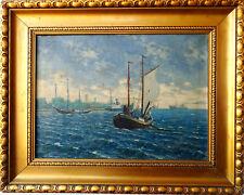 Antike Ölgemälde Schiffe in Swinemünde Maritimer Kunst signiert 1909 datiert