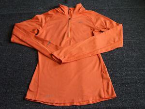 Nike Women's Dri-Fit Element Running Shirt 1/4 Zip Long Sleeve Orange Size XS
