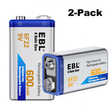 EBL 2 Pack 6F22 Lithium-ion 17R8H Rechargeable Battery 9V 600mAh USA Shipping