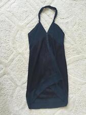 DRIES VAN NOTEN Womens Navy & Black Silk Blend Sleeveless Halter Casual Dress 38