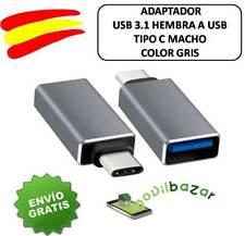 USB 3.1 Tipo C MACHO A USB 3.0 HEMBRA PLATA DATOS OTG SYNC ADAPTADOR