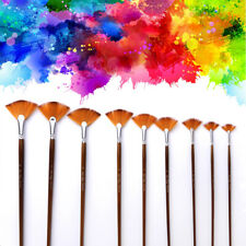 9pcs/set Fan Brush Set Wooden Handle Acrylic Water Oil Painting Artist Brushes-