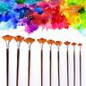 9pcs/set Fan Brush Set Wooden Handle Acrylic Water Oil Painting Artist Brushes