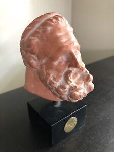 Vintage Hercules Socrates Russian Museum Head Bust Art Mounted Sculpture Statue
