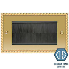 BG Georgian Polished Brass Double 2 Gang Brush Cable Entry Wall Plate NBGEMR4