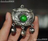 Old China silver Inlay green jade Gem fish wealth lock amulet Pendant necklace