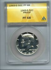 1969-S San Francisco Silver Proof Strike  ANACS PF 68 Half Dollar Coin!