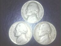 1954 P D S Jefferson Nickels !!  LOWER MINTAGE !! SHIPS FREE !! - TAKE A LOOK !!