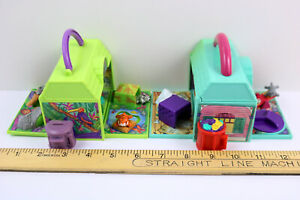 Vintage Galoob Lot of 2 - Pound Puppies Mini Playsets with 5 Figures