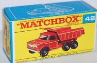 Matchbox Lesney No 48 Dodge Tipper Truck Empty Box  Repro  style  F Box