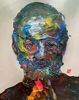 Abstract Portrait Steve Jobs Apple Founder Painting Knife Fine Wall Art Print
