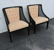 Pair of French Caned Painted Black Living Room Side by Side Chairs 7635