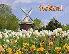 HOLLAND - Travel Souvenir Magnet WINDMILL, TULIPS
